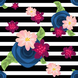 Flower pattern on striped black and white Royalty Free Stock Photography