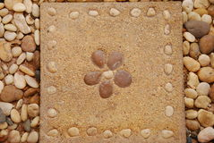 Flower pattern tile. Background with stone in garden.this decorate object for walking path in garden.design for outdoor nature part and other home design Royalty Free Stock Photos