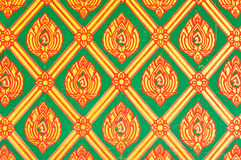 Flower pattern in traditional Thai style art paint. Ing on wall of the temple Stock Photography