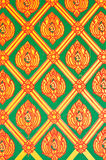Flower pattern in traditional Thai style art paint. Ing on wall of the temple Stock Image