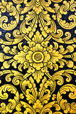 Flower pattern in traditional Thai style. Art painting on window of the temple Stock Images