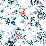 Flower pattern with tropical plants. A watercolor for flower design. Ornament for silk fabric. Painting for an exotic surface. royalty free stock photography