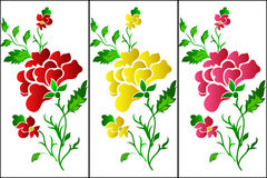 Flower pattern vertical, rose, tattoo Royalty Free Stock Images