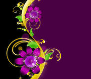 Flower pattern. On the violet-black background Royalty Free Stock Images