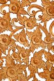 Flower pattern Wood carve. Wood carve hand made product on whit background Stock Photography