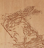 Flower on pattern wood Stock Image