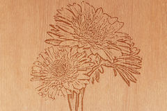 Flower on pattern wood. Pattern of wood  carve flower on wood background Royalty Free Stock Images