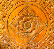 Flower pattern wood carving. Flower  pattern wood carving in Thai style Royalty Free Stock Images