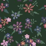 Flower pattern zigzagged dark Stock Photography