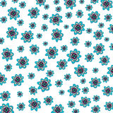 Flower patterned background. Turquoise and purple flowers on a field of white stock illustration