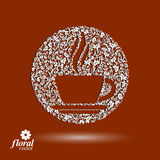 Flower-patterned cup of coffee with aromatic steam. Rendezvous t. Heme floral illustration vector illustration