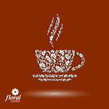 Flower-patterned cup of coffee with aromatic steam. Rendezvous t. Heme floral vector illustration royalty free illustration