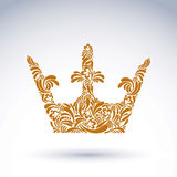 Flower-patterned decorative crown, art royal symbol.  Royalty Free Stock Images