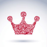 Flower-patterned decorative crown, art royal symbol. King crown Stock Image