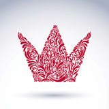 Flower-patterned decorative crown, art royal vector symbol. King Stock Photo