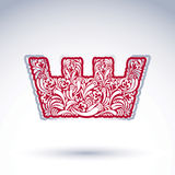 Flower-patterned imperial crown isolated on white background. Fl Royalty Free Stock Photography