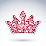 Flower-patterned imperial crown isolated on white background. Royalty Free Stock Images