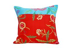 Flower patterned pillow, isolated on white Stock Photo