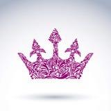 Flower-patterned vector crown, art royal symbol. King coronet fi Stock Photo