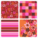 Flower patterns. Geometric and designed floral patterns