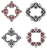 Flower patterns and borders Stock Photos