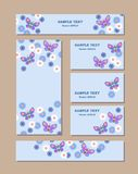 Flower patterns of different sizes with butterflies, daisies and cornflowers. For romantic and easter design, announcements, royalty free illustration