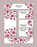 Flower patterns of different sizes with stylized roses, with bouquets of beautiful roses. For romantic and easter design, stock illustration
