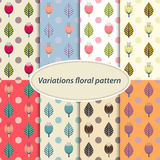 Flower patterns set Stock Photos
