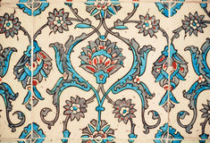 Flower patterns on tiles in the old Turkish style Royalty Free Stock Photo