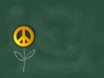 Flower with peace symbol on chalkboard. 3d rendering Royalty Free Stock Image