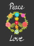 Flower peace symbol with hand written words Peace and love. Boho print. Floral poster. Stock Photo