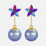 Flower pearl earrings mockup, realistic style stock illustration