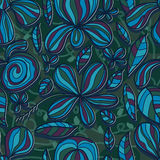 Flower petal drawing line color seamless pattern Stock Image