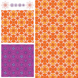 Flower petal 8 orange purple symmetry seamless pattern. This illustration is design and drawing symmetry flower with abstract citrus and purple version in Royalty Free Stock Photography