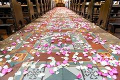 Flower petals on church ground royalty free stock photos