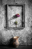 Flower in a picture frame black and white, Royalty Free Stock Photography