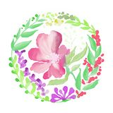 Flower pictures with watercolor style 01 royalty free illustration