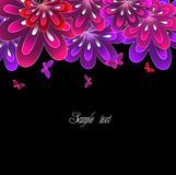 Flower pink on black background. Vector Royalty Free Stock Image