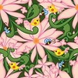 Flower pink drawing swirl green bee bird seamless pattern Stock Image