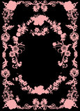Flower pink frame on blak Royalty Free Stock Photos