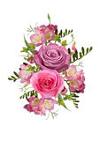 Flower pink Rose Freesia, Hypericum, sweet pea leaves herbs beau Stock Photo