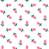 Flower pink tulips pattern seamless vector Stock Photos