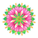 Flower pink watercolor mandala Royalty Free Stock Images