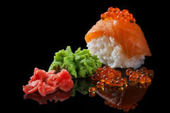 Sushi with red caviar Royalty Free Stock Photos