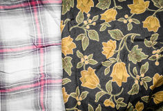 Flower and plaid fabric Stock Image