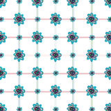 Flower & plaid patterned background Royalty Free Stock Image
