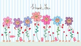 Flower plant cartoon hand love thank you card
