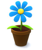 Flower plant in pot 3d icon. Blue flower icon - plant  in flowerpot 3d Stock Images