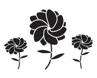 Flower Plant Vector Silhouette. Vector illustration of abstract floral silhouettes Stock Photo