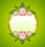 Flower plaque template. With copy space for your custom text Stock Photo